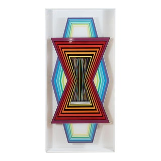 Vintage Acrylic Layered Kinetic Op Art Wall Sculpture For Sale