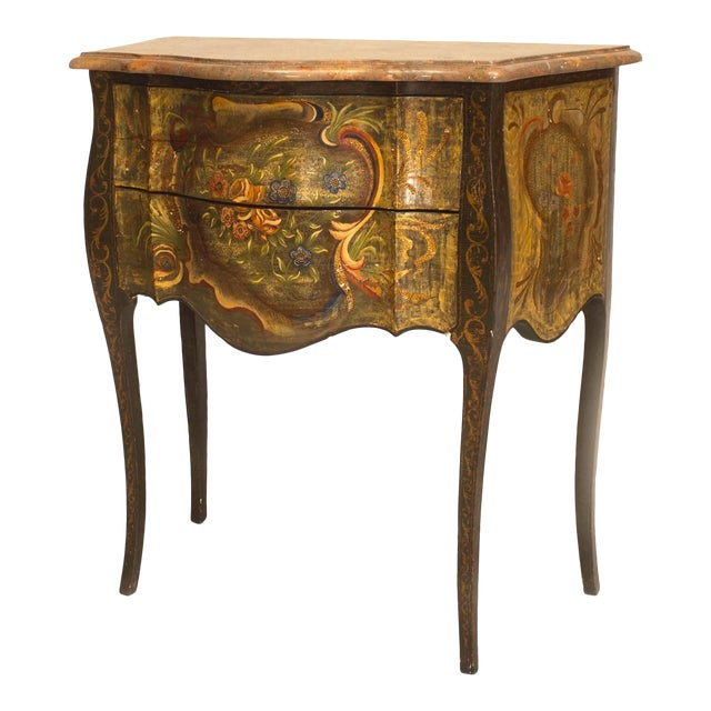 Pair of Italian Venetian (19th-20th century) floral painted and decorated two-drawer commodes with shaped marble top.