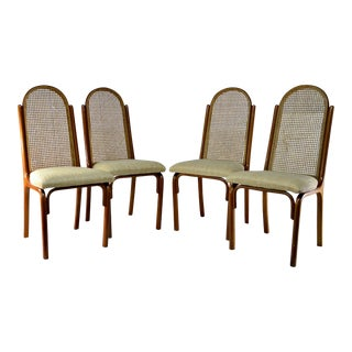 Bentwood Style Cane Back & Upholstered Seat Chairs - Set of 4 For Sale