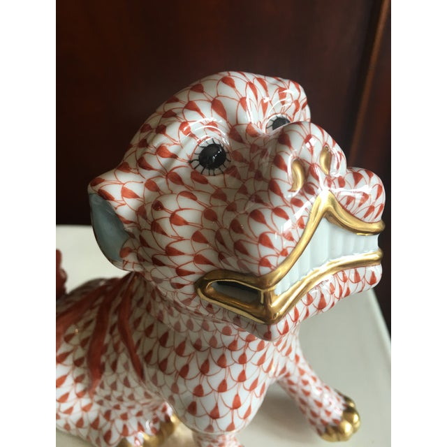 Herend Rust Colored Fishnet Pattern Foo Dog Figurine For Sale - Image 10 of 11