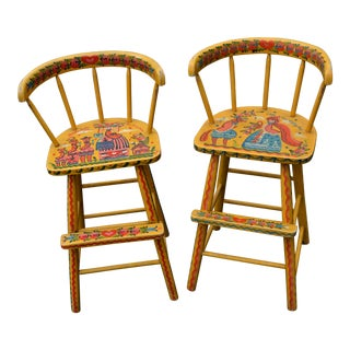 1970s Pa Dutch Hand Painted Folk Art Nursery Rhymes Yellow Wooden Stools - a Pair For Sale