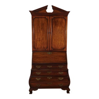 Drexel Wallace Nutting Collection Mahogany Bombe Kettle Base Secretary Desk For Sale