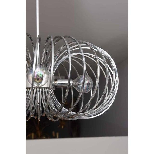 Gaetano Sciolari Mid-Century Modern Gaetano Sciolari Chandeliers Polished Chrome Pendant Light - a Pair For Sale - Image 4 of 10