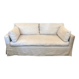 Restoration Hardware Belgian Track Arm Classic Slipcover 6' Sofa For Sale