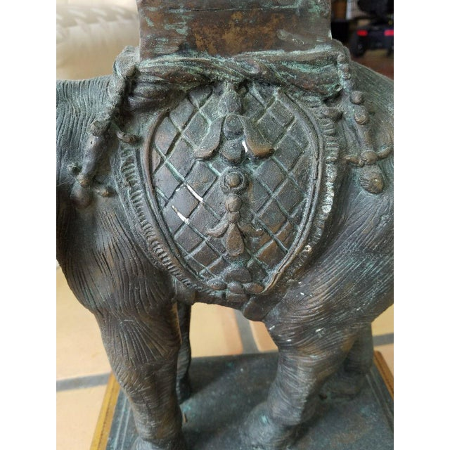 Maitland - Smith 1970's Vintage Maitland Smith Bronze Leather & Glass Elephant Table For Sale - Image 4 of 13