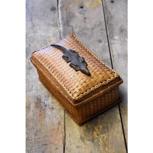Vintage Crocodile Embellishment on Rattan Basket - Image 5 of 5