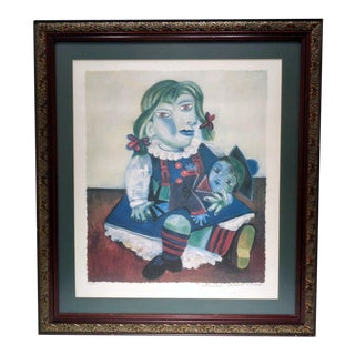 """Pablo Picasso (Spanish 1881-1973) """"Girl With Doll"""" Domaine Collection Lithograph For Sale"""