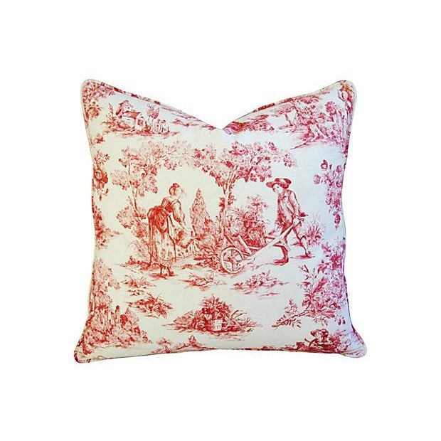 French Country Toile Pillows - A Pair - Image 4 of 6