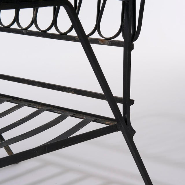Metal Vintage Mid Century Maurizio Tempestini for Salterini Black Wrought Iron Ribbon Lounge Chairs- a Pair For Sale - Image 7 of 9