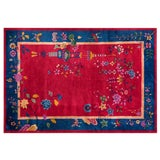 "Image of Chinese Art Deco Red & Blue Rug - 6'x8'10"" For Sale"
