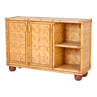 Midcentury Bamboo and Wicker Cabinet or Server For Sale