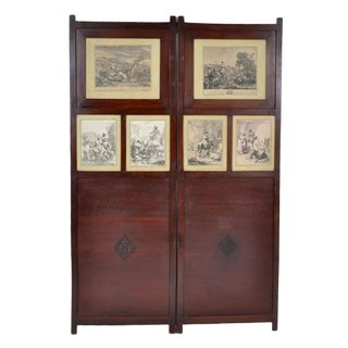 19th Century Antique English Two Panel Mahogany Screen With 18th Century French Lithographs For Sale