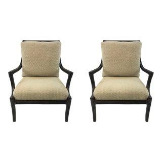 Transitional Lacor Paris Rattan Lounge Chairs Pair For Sale