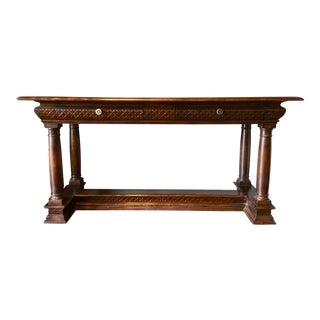 Transitional Warm Dark Wood Library Table By: John Richards For Sale