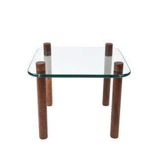 Glass Top Teak Side Table For Sale
