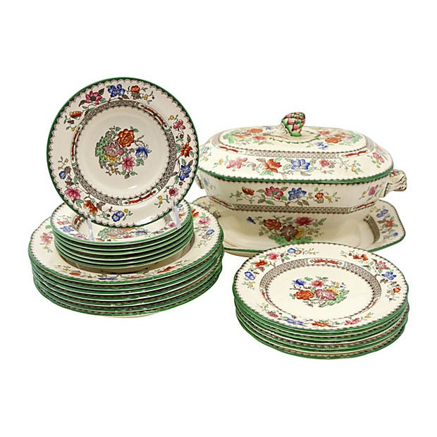 Antique Spode Chinese Rose Soup / Dinner Set - 23 Pieces For Sale In Los Angeles - Image 6 of 6