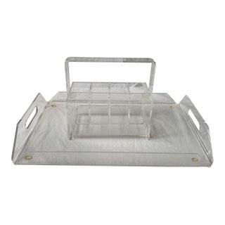 Acrylic/Lucite Tray & Caddy - 2 Pieces For Sale