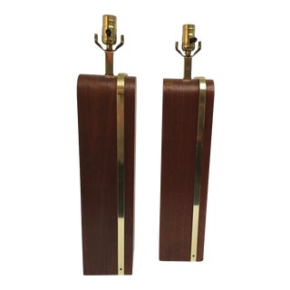 Vintage Walnut and Polished Brass Table Lamps - a Pair For Sale