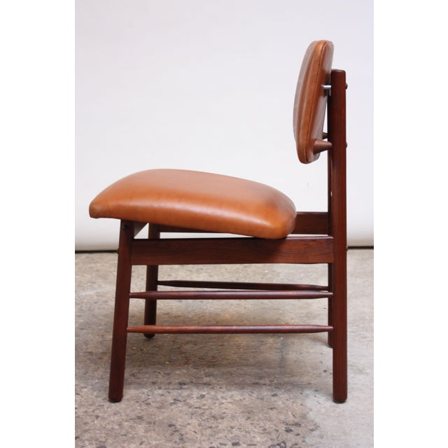Tan Set of Ten Walnut and Leather Dining Chairs by Greta Grossman For Sale - Image 8 of 13
