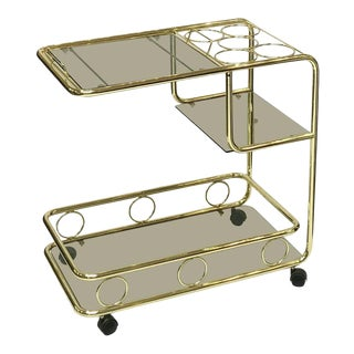 French Rolling Drinks Cart of Brass With Tinted Glass For Sale