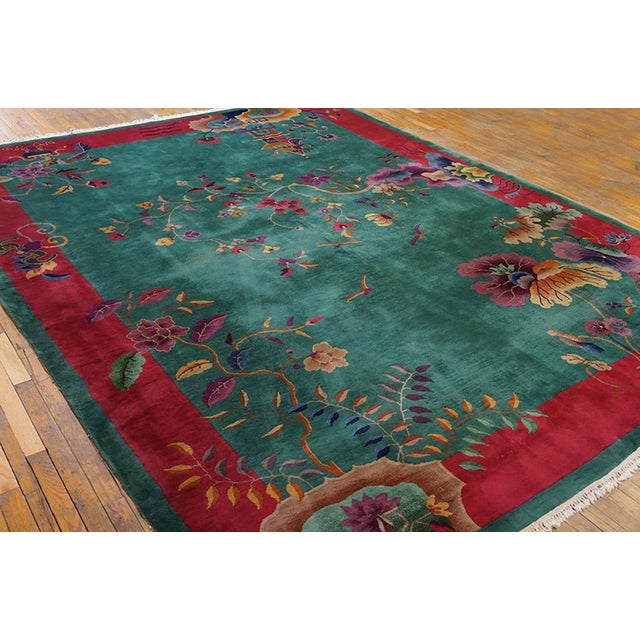 "1920s 1920s Antique Art Deco Chinese Rug 9'2"" X 11'8"" For Sale - Image 5 of 6"