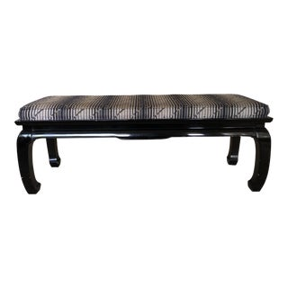 20th Century Chinese Lacquered Black Wooden Bench