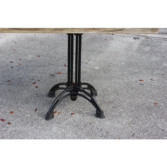 French 1920s French Country Cast Iron Base Walnut Top Dining / Bistro Table For Sale - Image 3 of 13