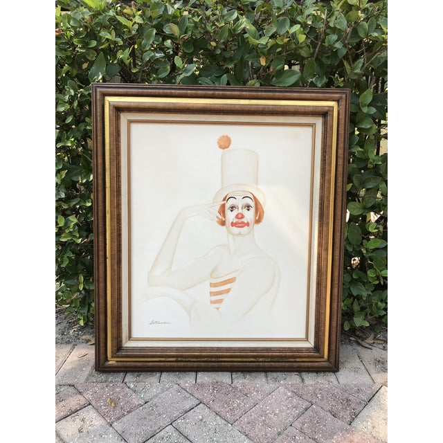 White Original 20th Century Tangerine Clown Painting For Sale - Image 8 of 8