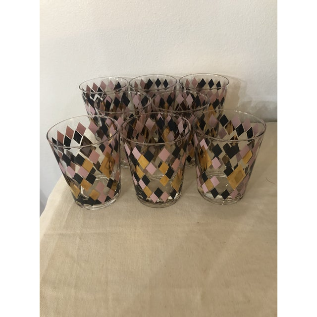 1960s Mid Century Harlequin Pattern Cocktail Glasses - Set of 8 For Sale - Image 5 of 6