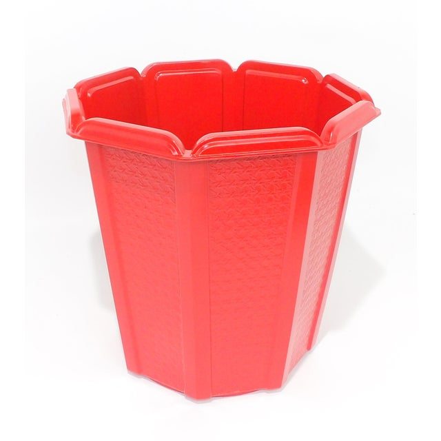Mid-Century Modern Mid-Century Modern Red Trash Can / Bin For Sale - Image 3 of 9