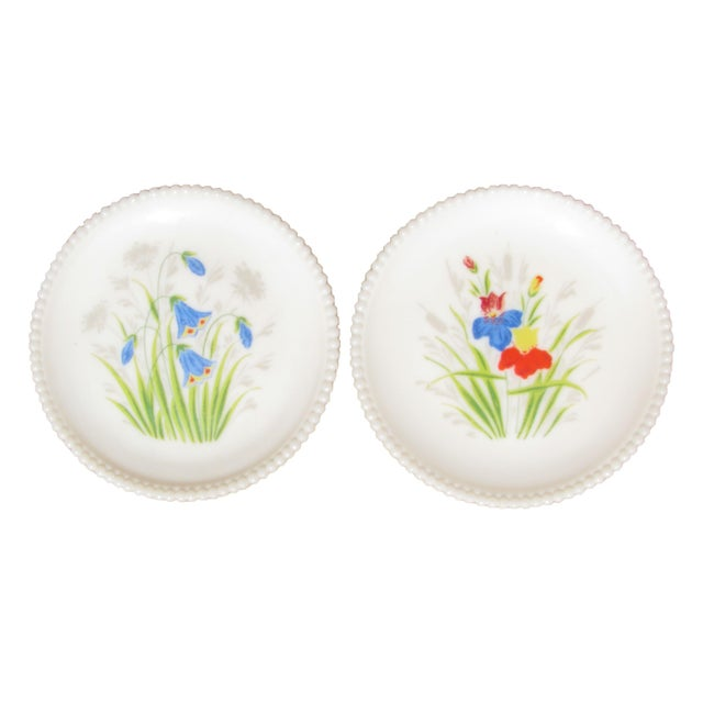 Handpainted Floral Milk Glass Plates, Pair For Sale - Image 4 of 4