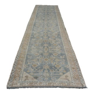 Vintage Hand-Knotted Wool Persian Runner Rug For Sale