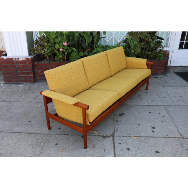 Mid Century Modern Mustard Sofa For Sale - Image 4 of 11