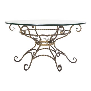 20th Century Hollywood Regency Wrought Iron Gilt Coffee Table For Sale