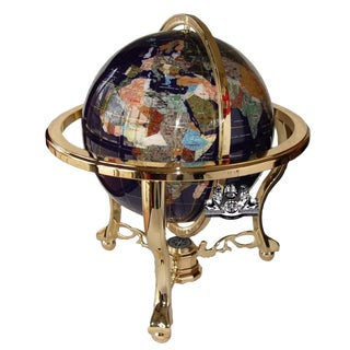 Blue Lapis Ocean Table Top Gemstone World Globe With Gold Tripod For Sale