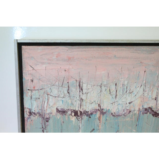 Abstract Vintage Mid-Century Kenneth Forman Holland Harbor Abstract Painting For Sale - Image 3 of 8