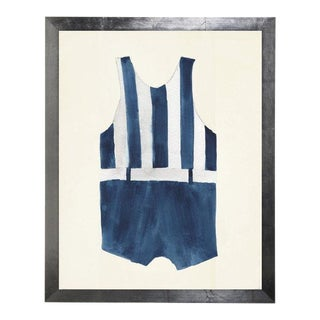 Male Blue Stripe Swimsuit Watercolor Print For Sale