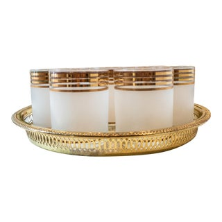 Vintage Georges Briard Gold Striped Glasses & Tray - Set of 9 For Sale
