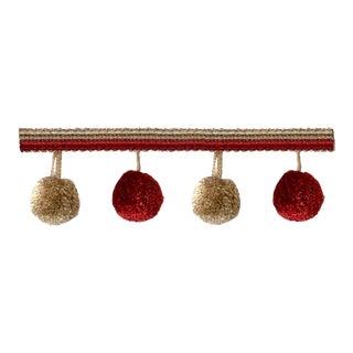 Scarlet Pompom Tassel Fringe With Decorative Header- 6.5 Yards For Sale