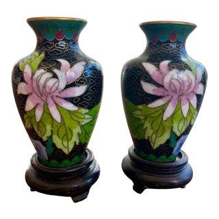 Asian Style Petite Black Cloisonne Vases - a Pair For Sale