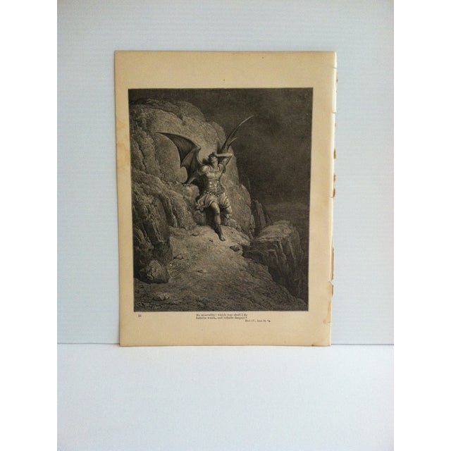 """Antique Paradise Lost Print, """"Which Way Should I Fly"""", Circa 1890 For Sale - Image 4 of 4"""