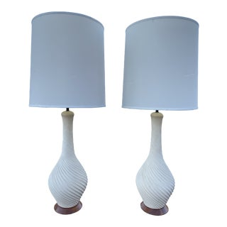 1960s Large Spiral White Table Lamps With Walnut Base - a Pair For Sale