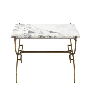 Solid Brass Marble-Top Arch Shape Legs Side Table For Sale