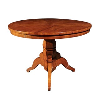 Austrian Biedermeier Centre Pedestal Table with Radiating Veneer, circa 1840