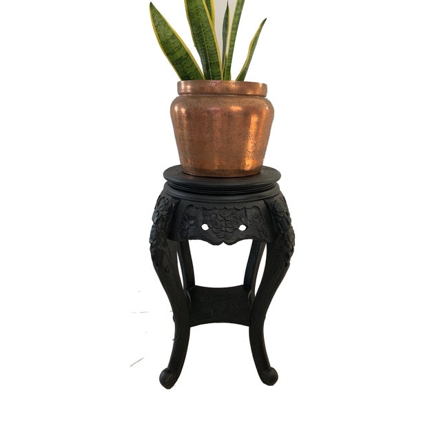 Vintage Chinese Carved Wood Planter Jardiniere Holder Stand Pedestal Side Table For Sale - Image 11 of 12