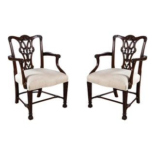 Chippendale Style Mahogany Armchairs - a Pair For Sale