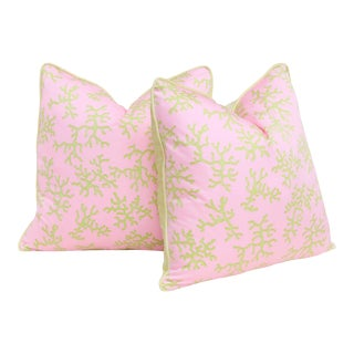Lilly Pulitzer's Color Me Coral Feather Down Pillows - a Pair For Sale