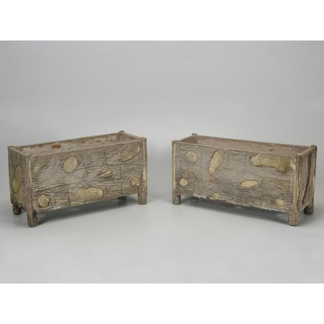 Rare Pair of Vintage French Faux Bois Planters For Sale - Image 13 of 13