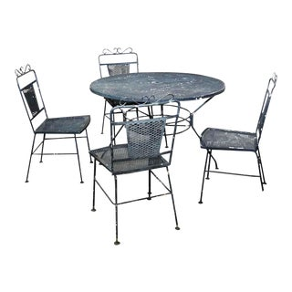 Woodard Style Outdoor Patio Table & 4 Chairs Set For Sale