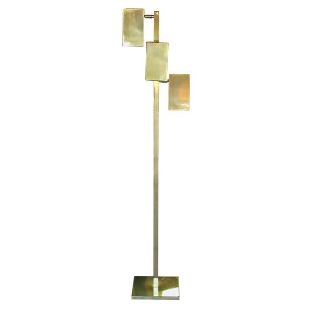 Lovely a sleek american koch lowy 3 light brass floor lamp decaso a sleek american koch lowy 3 light brass floor lamp image aloadofball Images